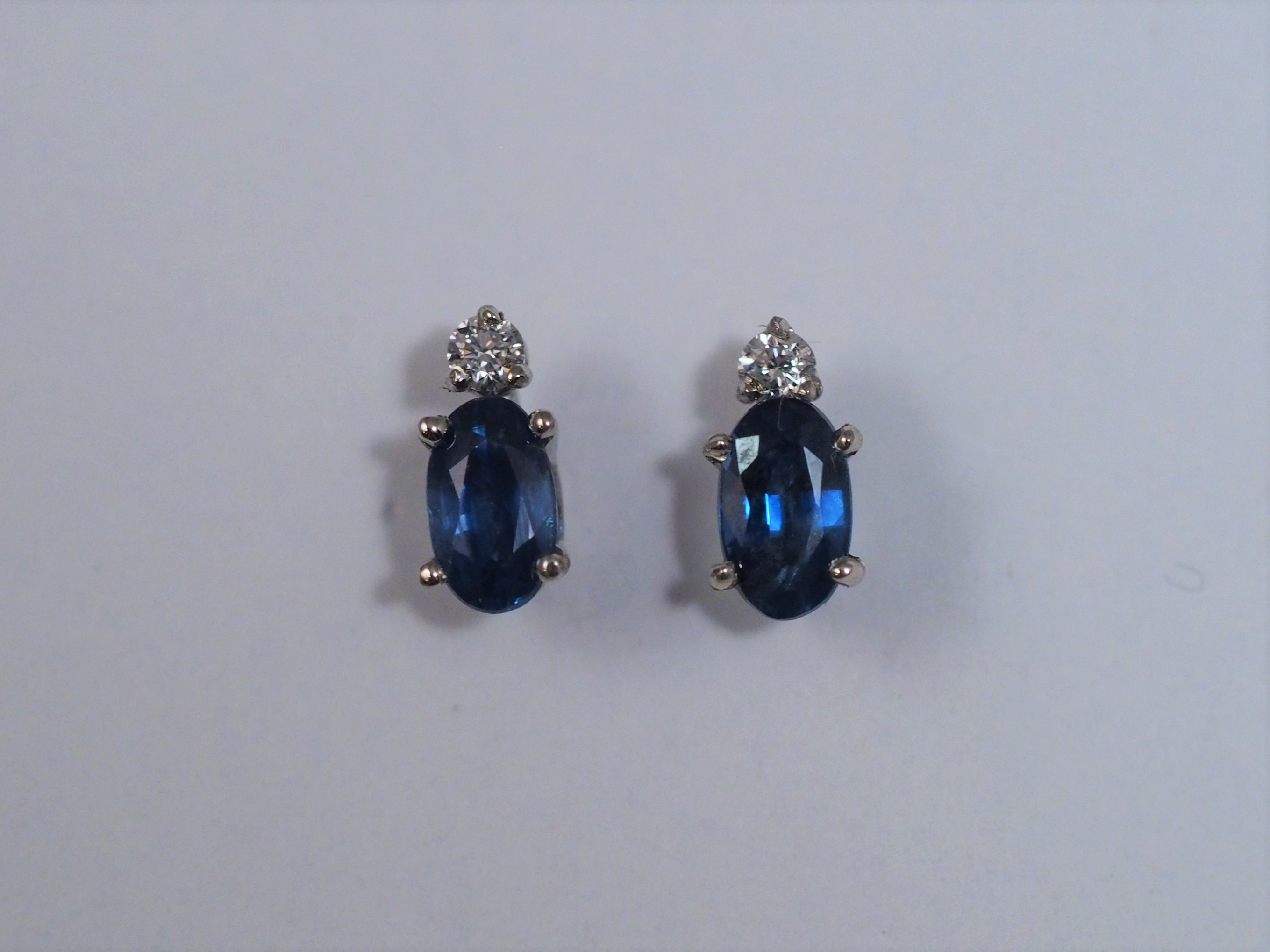 blue reuven cut oval earrings sapphire gitter with diamond halo product saphire